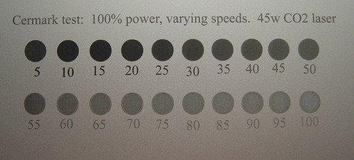 Cermark test con varios parametros grabar metal maquina láser Co2